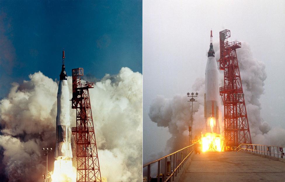 Balra a NASA első emberes űrrepüló programjának, a Mercury-program kezdete: 1961. május 5. A Mercury-Redstone MR-3 rakéta startja. A tetején, a Freedom 7 űrkapszulában Alan B. Shepard ül, aki - mégha csak szuborbitális pályán is - első amerikai űrhajósként az űrben járt. Jobbra: 1961. július 21. A Mercury-Redstone MR-4 rakéta startja. A tetején, a Liberty Bell  7 űrkapszulában Virgil Grissom, a második amerikai űrhajós ül, aki - ugyancsak szuborbitális pályán jutott az űrbe.