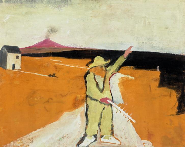 Szirakuzai bolond, 1930                         tempera, fa, 80 x 90 cm