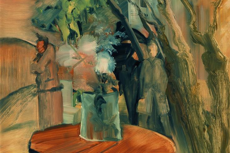 Történt valami?, 1941                         olajtempera, fa, 73 × 93 cm