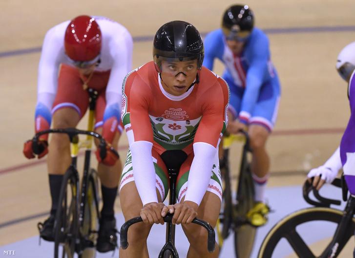 Szalontay Sándor a férfi pályakerékpárosok keirin versenyének reményfutama után a II. Európa Játékokon a Minszk Arénában 2019. június 30-án.