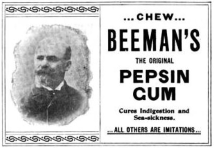 Dr. Beeman pepszines rágógumijának hirdetése 1897-ből
