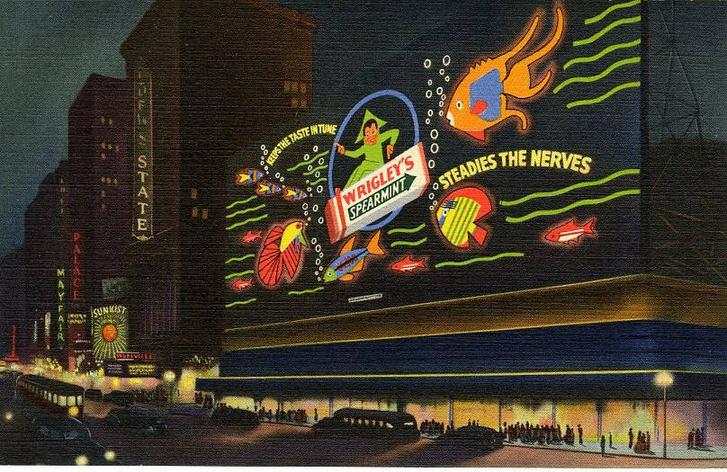A Wrigley óriási neonhirdetése a Times Square-en 1936-ban: megőrzi az ízét és megnyugtatja az idegeket.