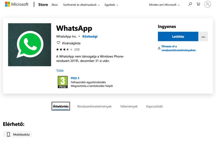 A WhatsApp oldala a Microsoft Store-ban