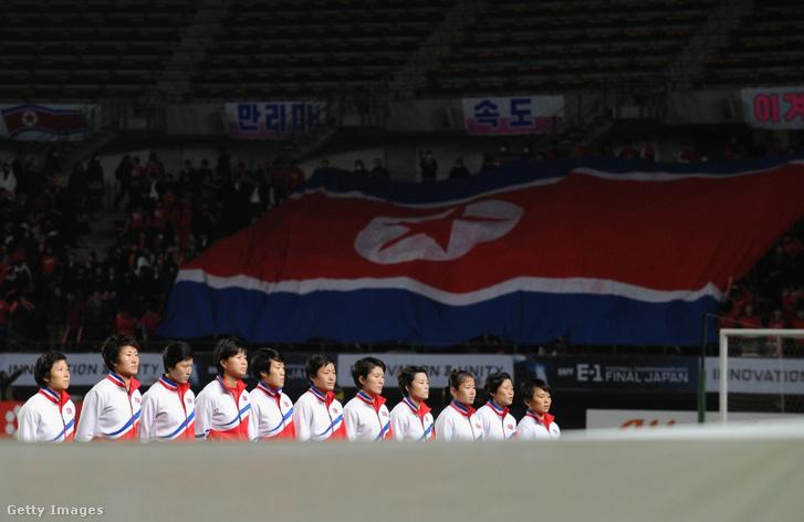 Észak koreai női futballválogatottja 2017-es Japán elleni mérkőzésen Chibában