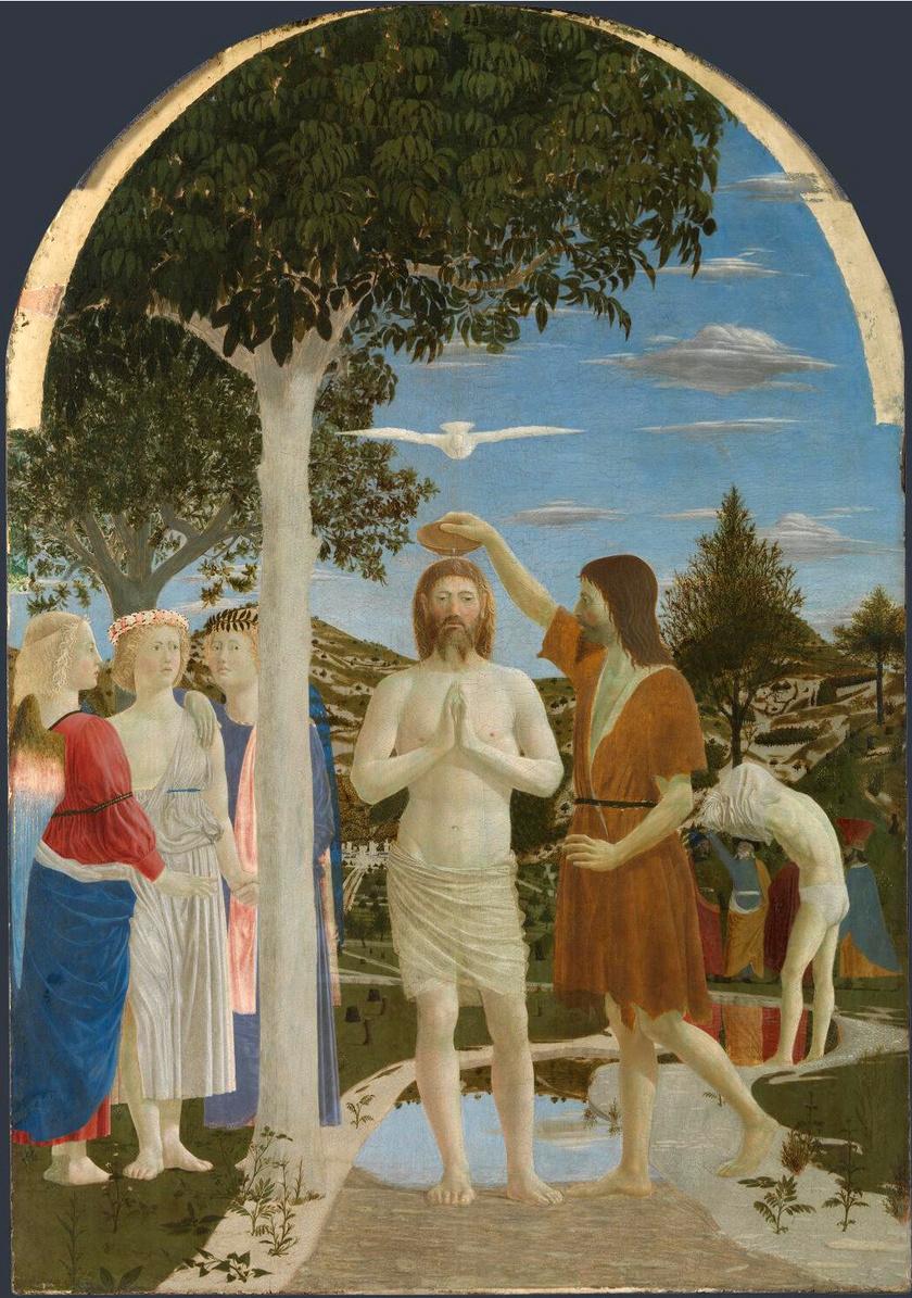 Jézus megkeresztelkedése Piero della Francesca, XV. századi alkotó képén.