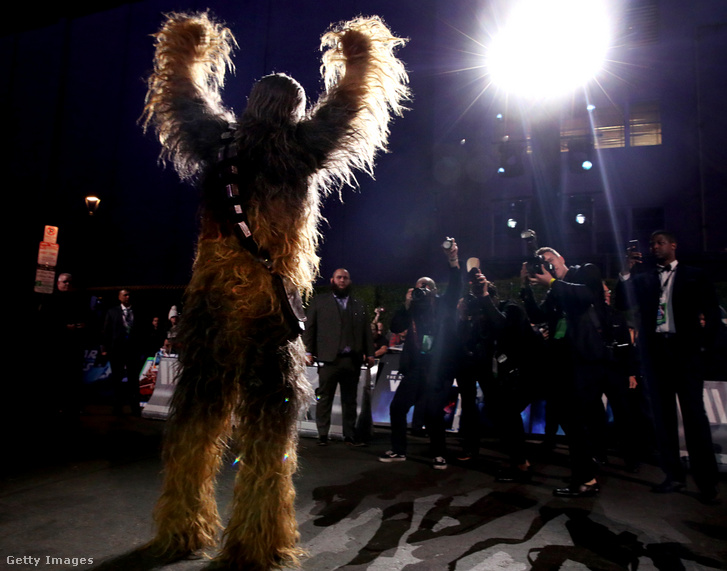 Chewbacca a Star Wars: Skywalker kora bemutatóján decemberben Hollywoodban