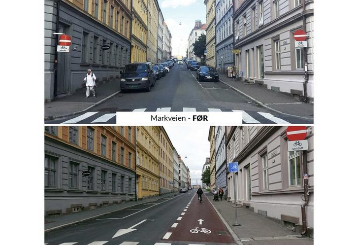 Ugyanaz az oslói utca kevesebb parkolóhellyel, több bringaúttal