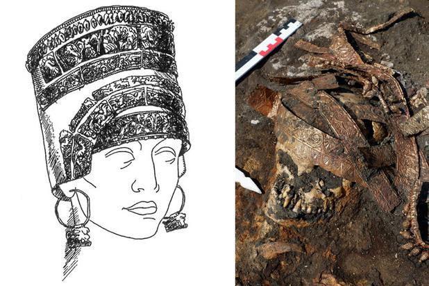 Az arany calathos fejdísz rekonstruált rajza, és a koponyán talált maradványai