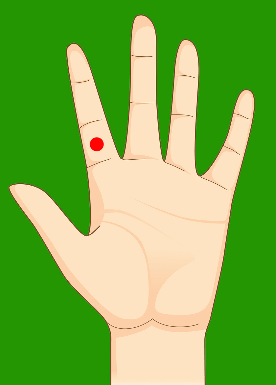 Gyomorégés esetén a mutatóujj alsó harmadán található akupresszúrás pont segíthet.