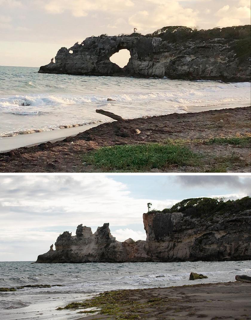 A fenti fotó a földrengés előtt, az alatta látható kép pedig utána készült.
