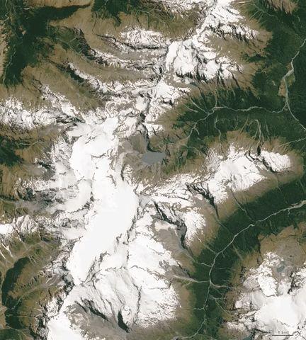 Az új-zélandi Edward hegy gleccsereit elsötétíti az Ausztráliából szálló korom