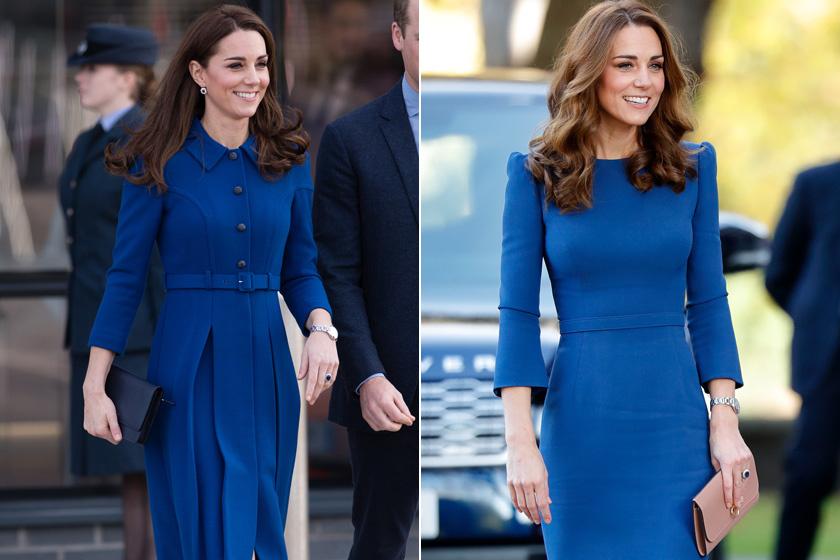 Katalin hercegné többször is viselte már a klasszikus kéket, főleg egészruhákban kedveli. Rendkívül elegánsan fest a királyi színben, a szettjét pedig általában fekete vagy bézs táskával egészíti ki.