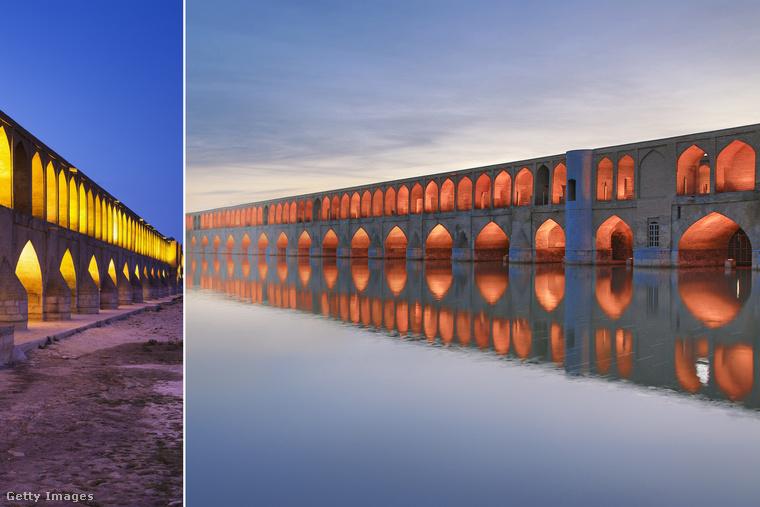Iszfahán hídjai − A város híres hosszú, fedett, éjszaka fényben úszó hídjai különleges látnivalók, legtöbbjük a 17