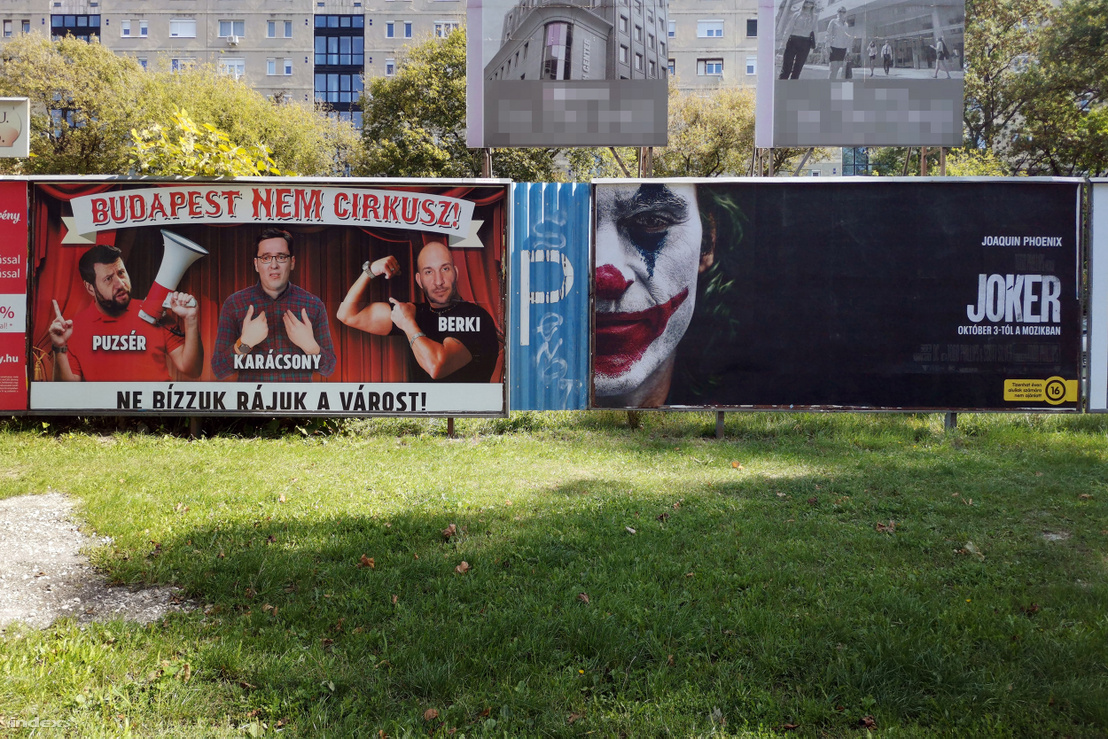 """Budapest is not a circus - Let's not trust the city to them,"" declares the poster of Fidesz's youth movement conflating opposition joint candidate and eventual winner Gergely Karácsony with other opposition candidates publicist Róbert Puzsér and tabloid star/political troll Krisztián Berki."