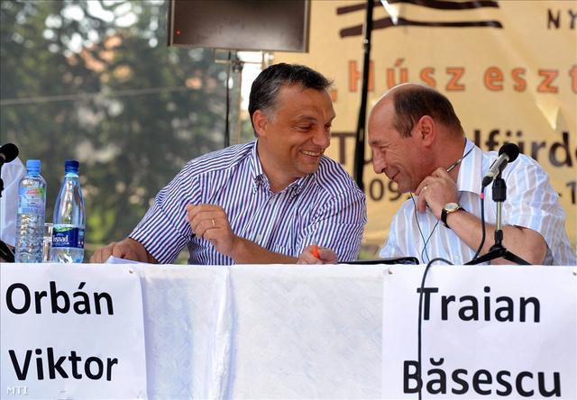 Orbán Viktor és Traian Basescu a XX. Bálványosi Nyári Szabadegyetemen