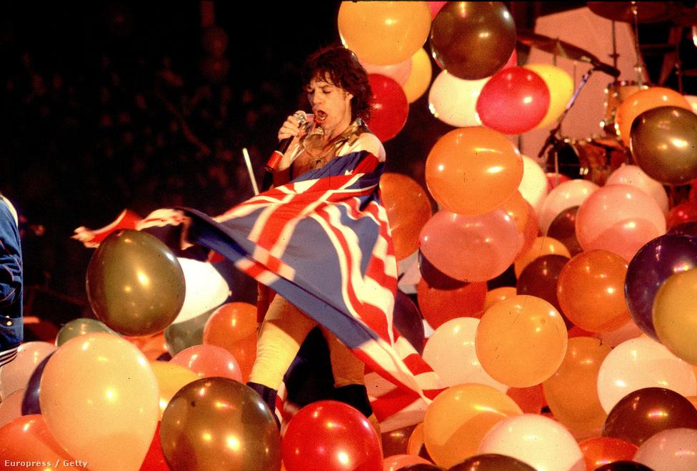Mick Jagger a Rolling Stones 1981-es amerikai turnéjának chicagói állomásán.