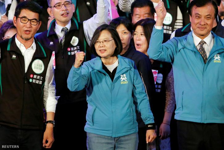 Caj Ing-ven a Yunlinben tartott elnökválasztási kampányrendezvényen 2020. január 6-án