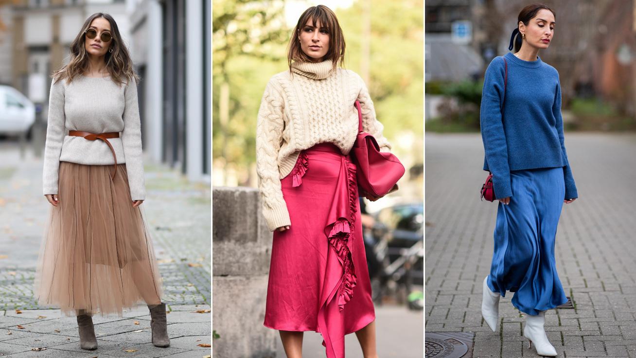 A tél legnőiesebb kombinációja: így viseld a meleg, kötött pulcsit szoknyával