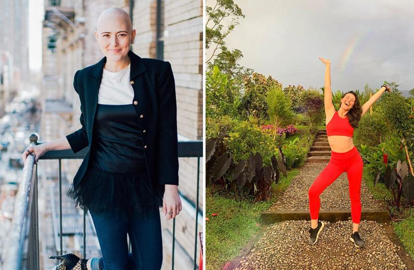 Az első kép három éve készült, amikor Kara Laddet szinoviális szarkómával diagnosztizálták, és elkezdték a kezelését. Ma már újra egészséges, kicsattan a boldogságtól, és próbálja motiválni a hasonló cipőben járókat.