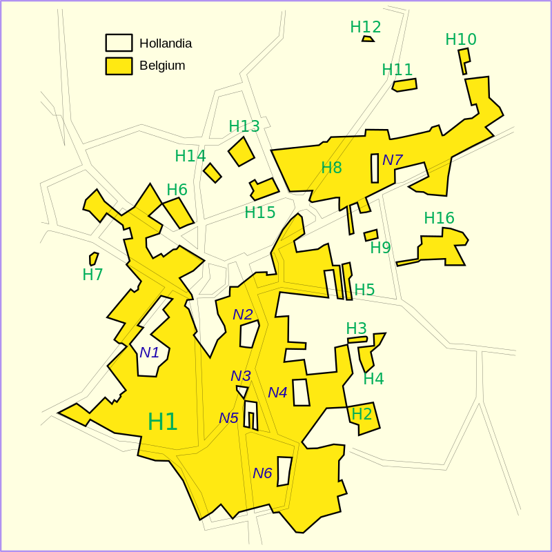 Itt vegyesen lehet találkozni holland és belga exklávékkal is.