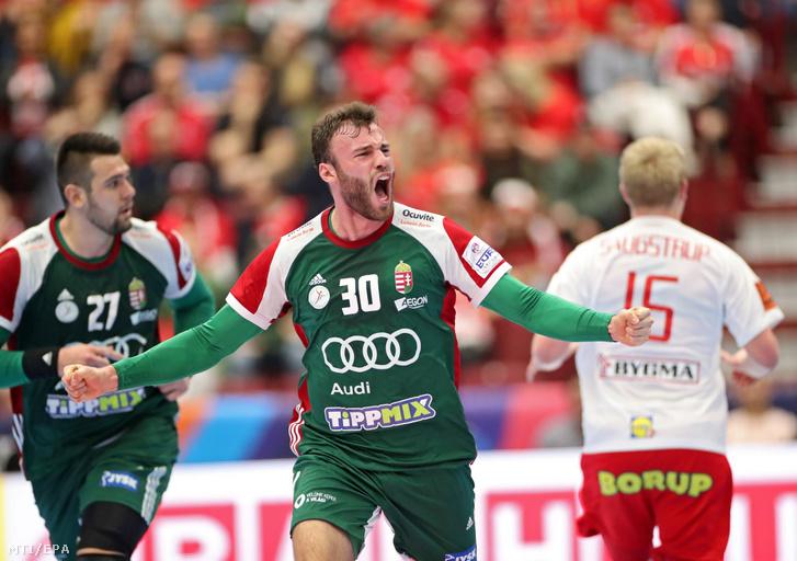 Szita Zoltán gólöröme az olimpiai kvalifikációs férfi kézilabda Európa-bajnokság E csoportjának második fordulójában játszott Dánia - Magyarország mérkőzésen a svédországi Malmőben 2020. január 13-án