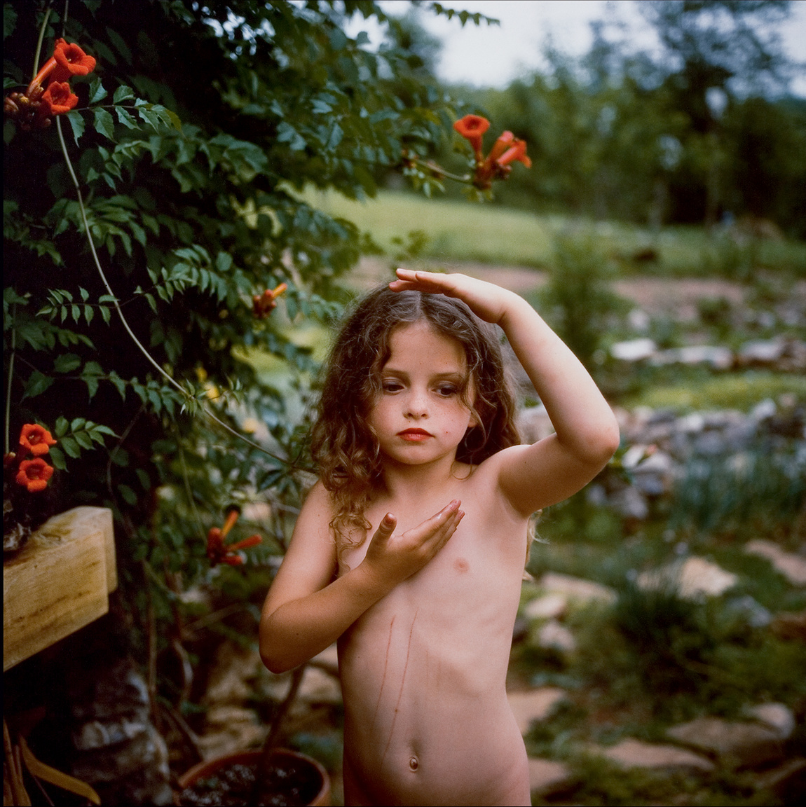Untitled (Virginia with Trumpet Vine)                         1991                         Silver dye bleach print                         Solomon R. Guggenheim Museum New York Gift The Bohen Foundation 2001                         2001.204                          Sally Mann                         Photography
