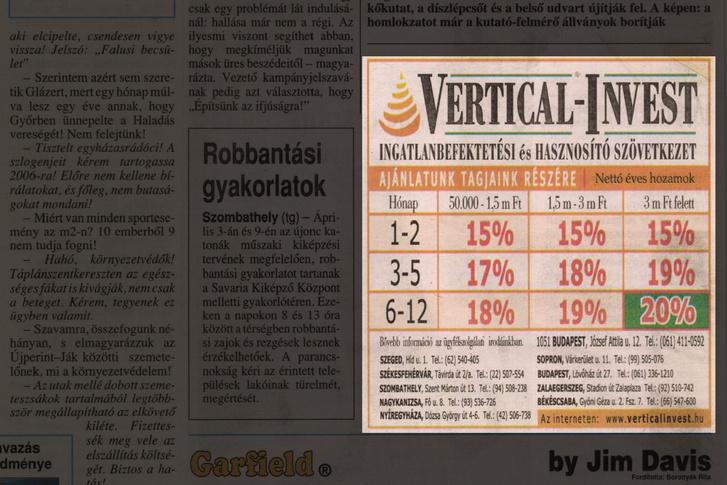 A Vertical-Invest egyik hirdetése