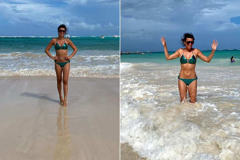 Berki Mazsi smaragdzöld bikiniben pózolt a tengerparton. Berki Krisztián lőtte róla ezeket a dögös képeket.
