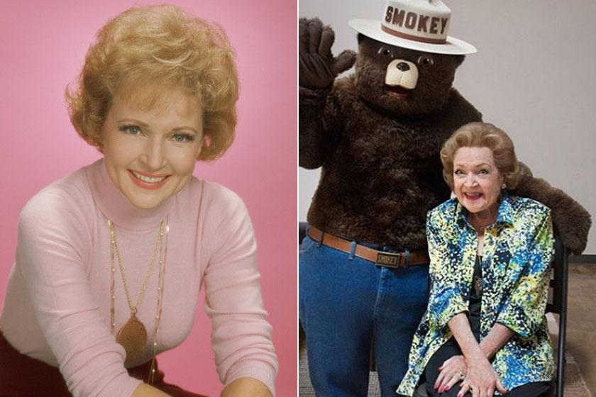 Betty White 1974-ben és napjainkban.