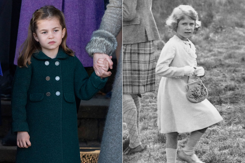 Valóban nagyon hasonlít egymásra Charlotte hercegnő és Erzsébet királynő, itt mindössze a frizurájuk más.