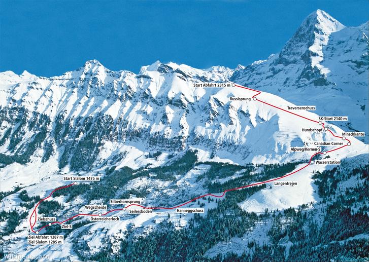 Streckenplan Lauberhornabfahrt