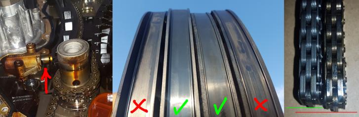 A láncfeszítő csapján látható a lánc nyúlása, ahogy a bal oldali, új lánchoz képest is megfigyelhető a méretváltozás. A műanyag csúszkák kopása nem tűnik nagynak, de ha minden összeadódik, indokoltnak mondható a vezérlés végzetes elhangolódása