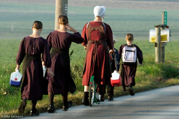 Képünk illusztráció! Amish nő gyerekeket kísér az iskolába.