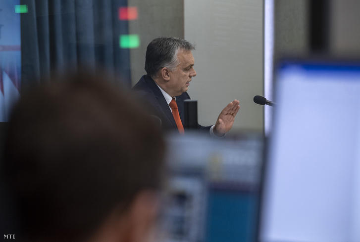 Orbán Viktor a Kossuth rádió stúdiójában 2018-ban