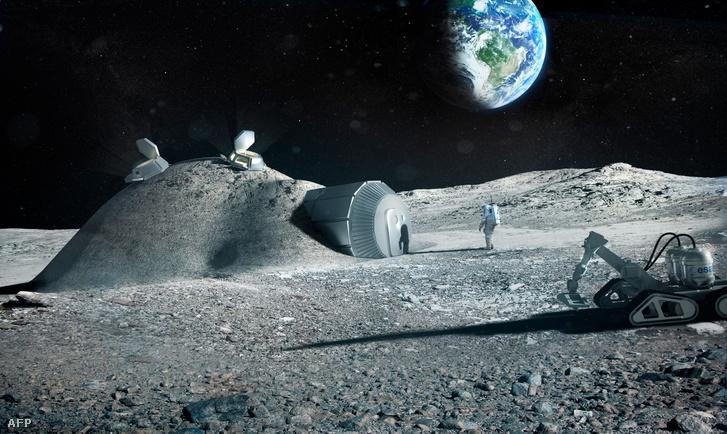 Az ESA által kiadott fantáziarajz egy 3D nyomtatott holdbázisról
