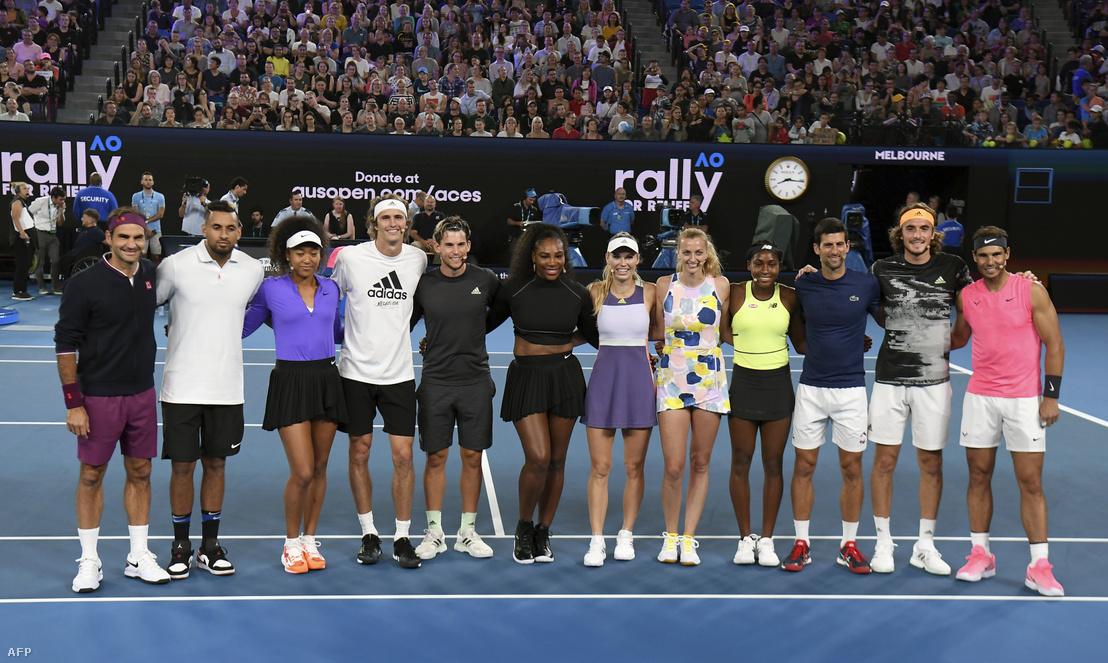 A világ vezető teniszjátékosai vettek részt a melbournie jótékonysági tornán, amit az ausztráliai bozóttűz áldozatai miatt rendeztek 2020. január 15-én