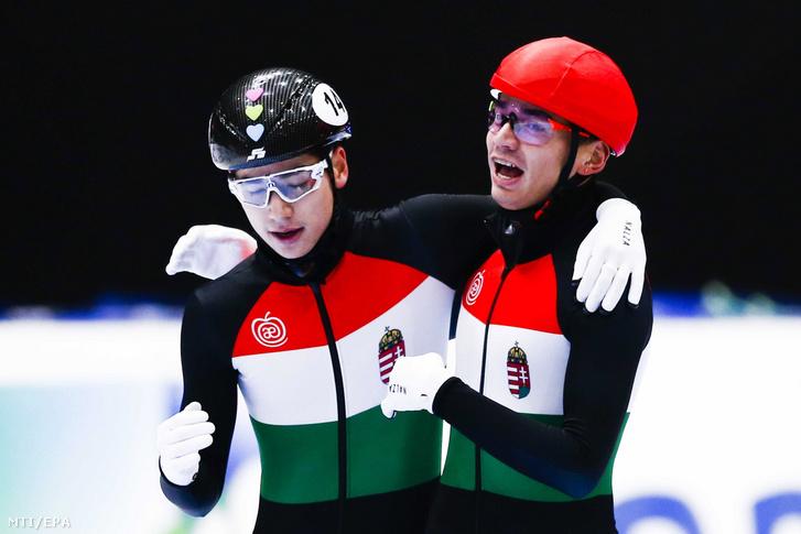 Liu Shaolin Sándor (jobbra) és öccse, Liu Shaoang a 2019-es dordrechti rövidpályás gyorskorcsolya Európa-bajnokságon