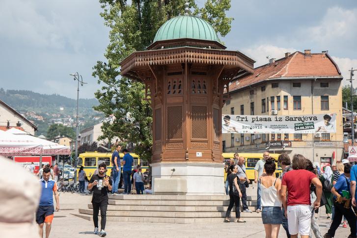 A Szarajevó kút a régi piacon. A legenda úgy tartja, hogy aki iszik belőle, az visszatér. Próbáltam, igaz.