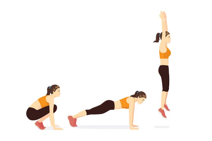 Végezz négyütemű fekvőtámaszt. Guggolj le, majd egy kirúgással hozd magad vízszintesbe, húzd magad alá a lábaid és ugorj egy nagyot úgy, hogy a kezeid párhuzamosan legyenek a fejed felett.