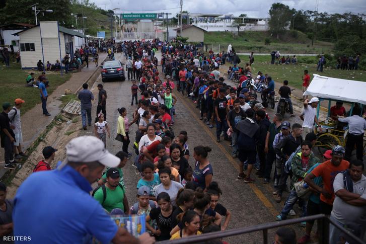 Menekültek a guatemalai-mexikói határon 2020. január 18-án