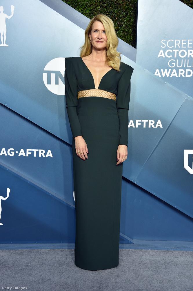 Laura Dernnél csak a felsőrész különleges, deréktól lefelé karcsúsító egyenes vonalakkal operál ez a ruha