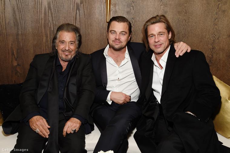 Ez pedig már a Netflix által rendezett afterparti, ahol kedélyesen bepunnyadt egymás mellé Al Pacino, Leonardo DiCaprio és Brad Pitt.