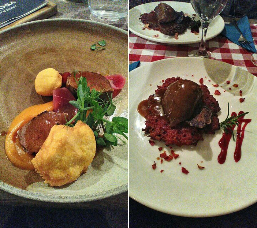 Muflonszűz édesburgonyával a Laposa Birtokon és vörösboros őzlapocka céklás tócsnival a Kisfaludy-házban.