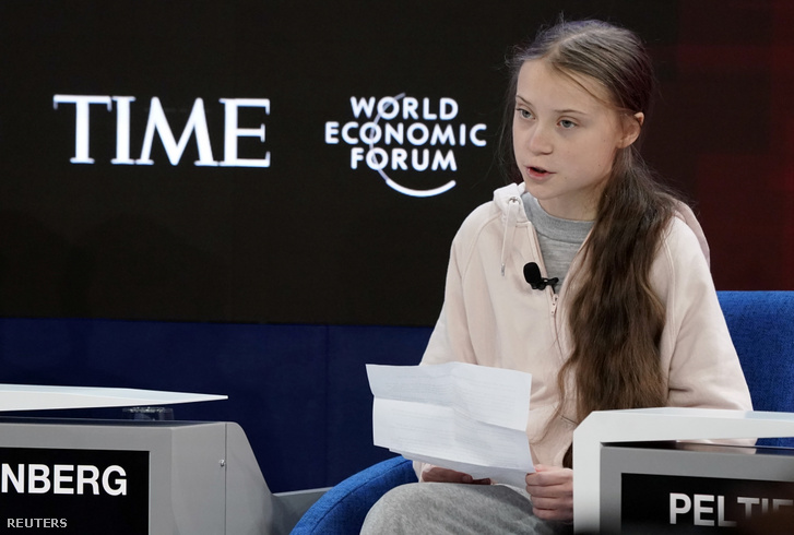 Greta Thunberg a Világgazdasági Fórum nyitónapján Davosban