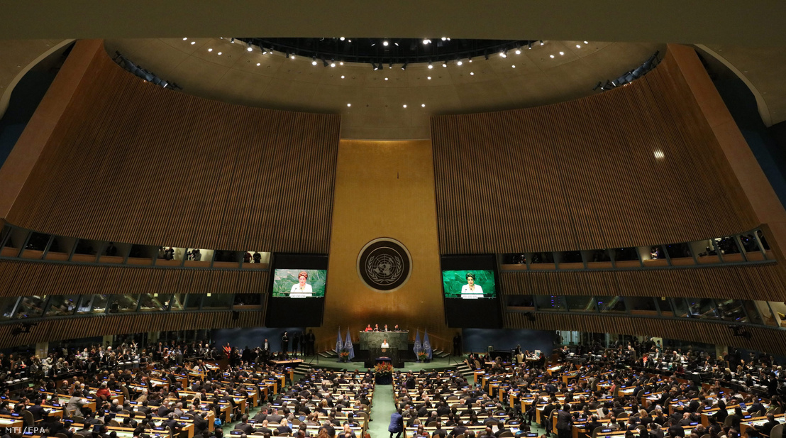 A párizsi klímaegyezmény aláírási ünnepsége az ENSZ New York-i székházában 2016. április 22-én.