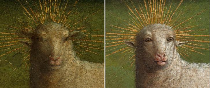 A bárány a restaurálás előtt és a restaurálás után