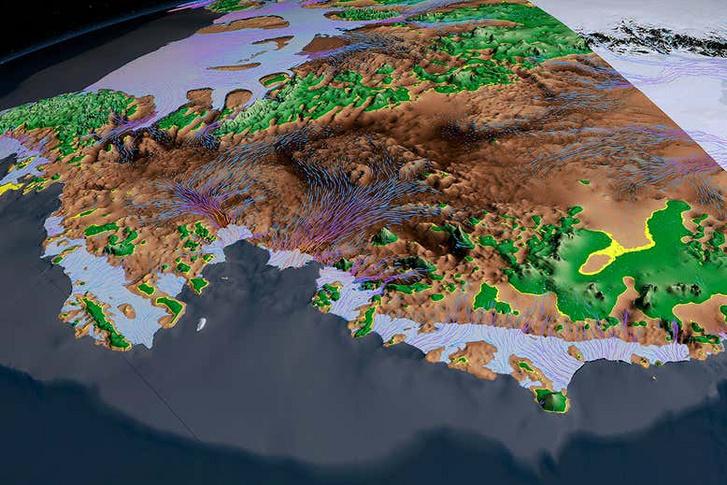 A nyugat-antarktiszi jégmező alatti szárazföld. A barna területek a tengerszint alatt fekszenek.