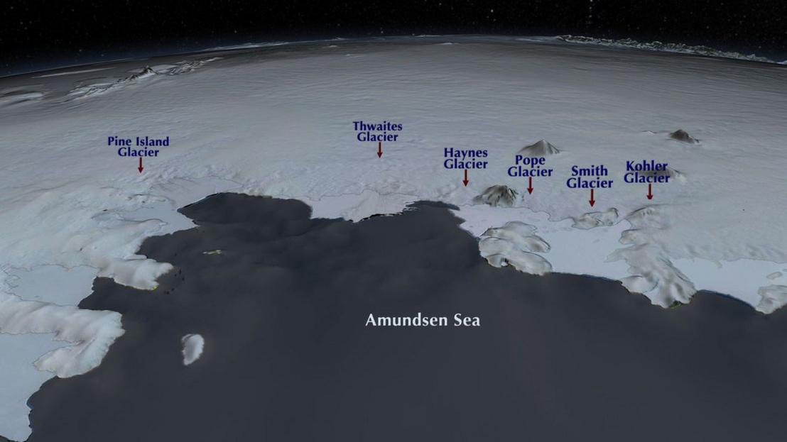Instabil gleccserek a Nyugat-Antarktisz régióban, amik elegendő jéggel rendelkeznek ahhoz, hogy a globális tengerszintet 1,2 méterrel megemeljék