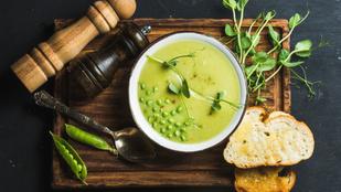 Egyszerű zöldborsókrémleves fűszeres csicseriborsóval – gyorsan elkészül, és nagyon egészséges
