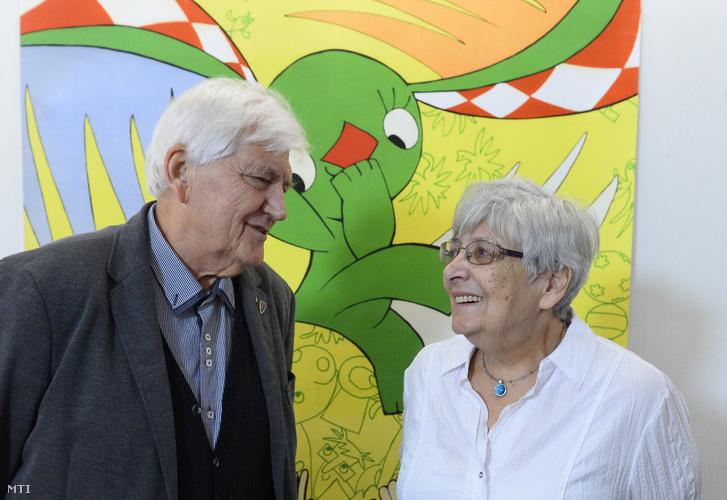 Richly Zsolt és Marék Veronika A kockásfülű nyúl szerzőpárosa az Országos Rajzfilmünnep sajtótájékoztatóján 2018. szeptember 26-án.